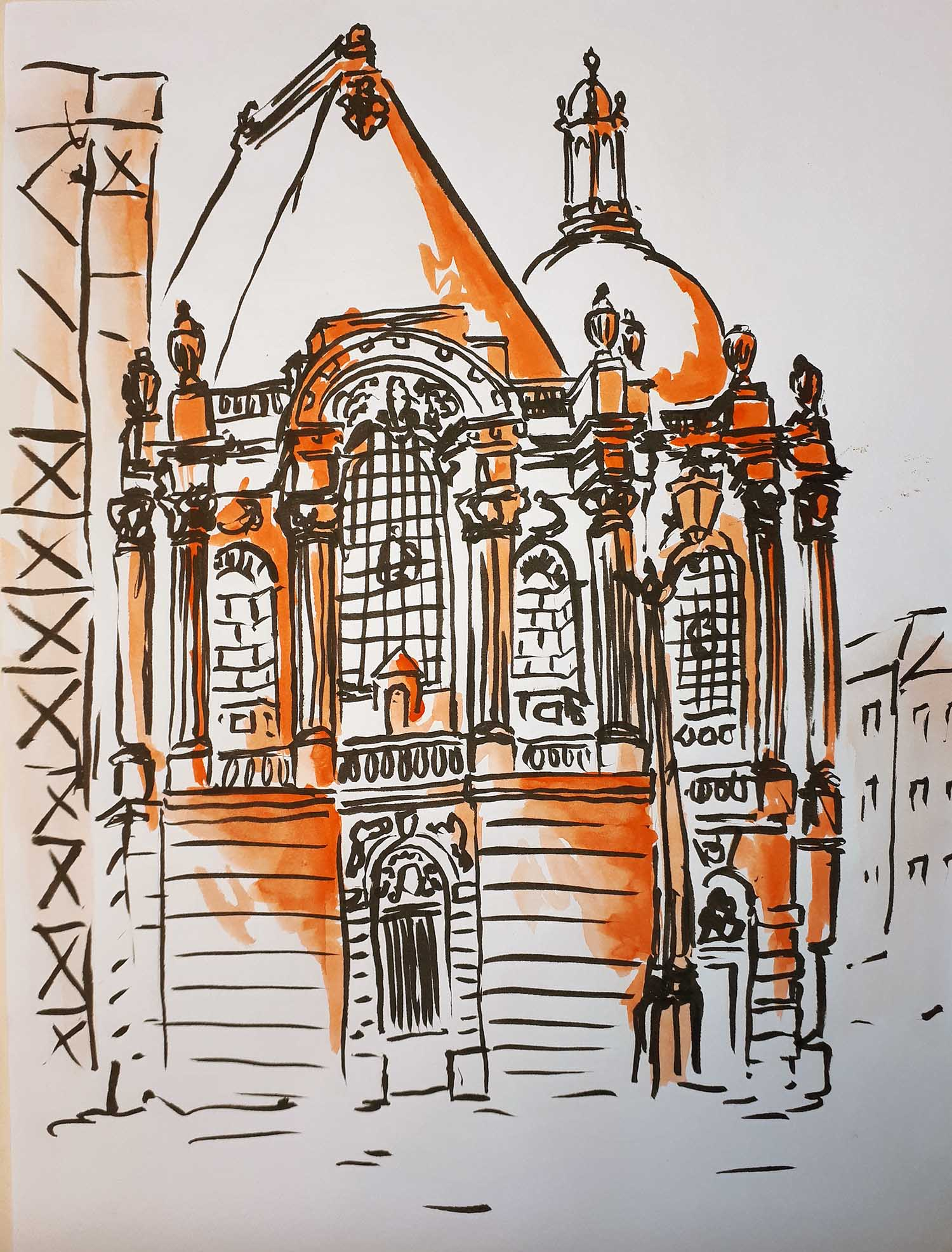 Dessin, urban sketch, dessin de rue, Beaux Arts Lille, orange, Antoine Dazy