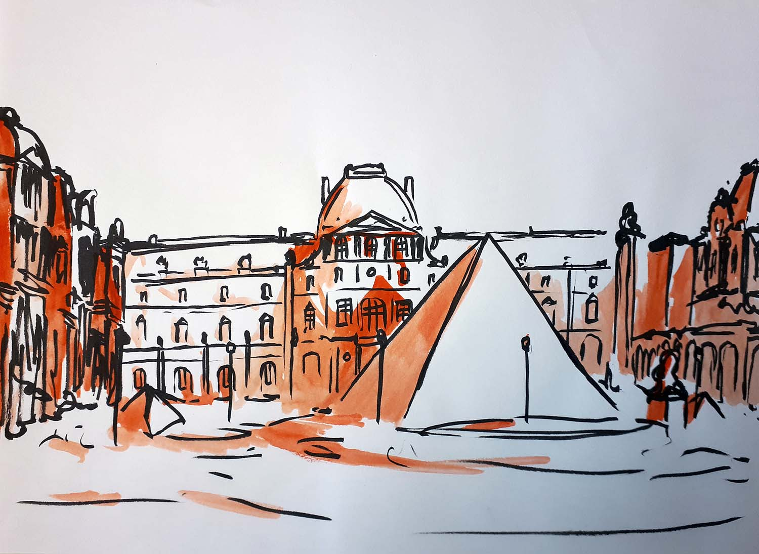 Dessin, urban sketch, dessin de rue, Louvre, Paris, orange, Antoine Dazy